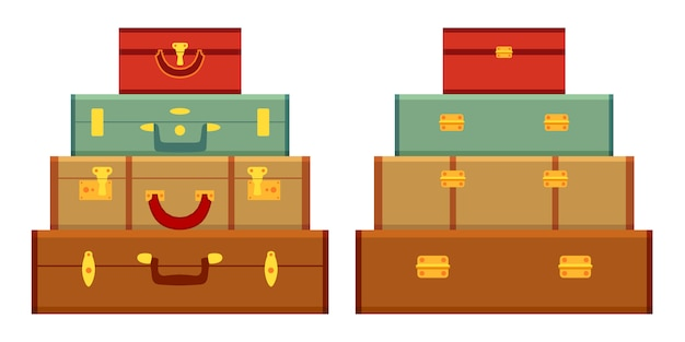 Travelers suitcases in the stack.