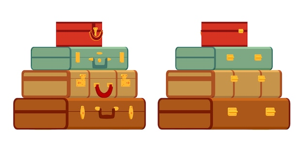 Travelers suitcases in the stack