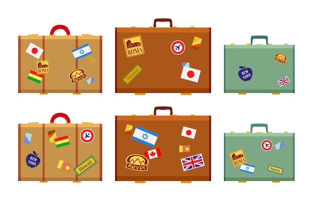 Travelers suitcases with the stickers