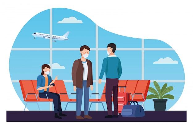 공항에서 의료 마스크를 사용하는 여행자