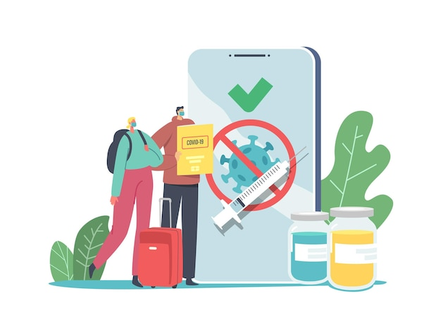 Travelers vaccination, covid immune medical certificate concept. tiny male and female characters at huge mobile, vaccine health passport. people in airport with luggage. cartoon vector illustration