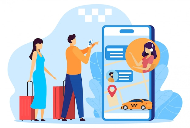 Travelers with baggage calling taxi, mobile phone app concept, people illustration