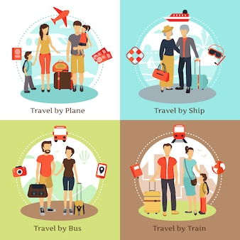 Travelers with baggage transportation concept 4 flat icons square with bus ship train poster