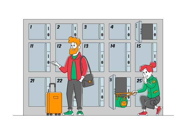 Travelers with bags use luggage storage service put bags into numbered lockers with keys in airport or supermarket