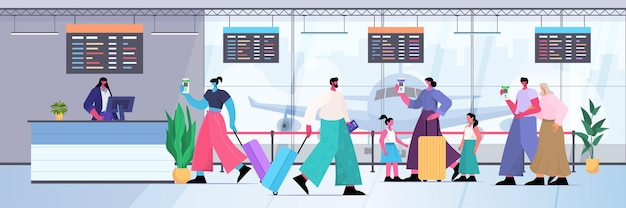 Travelers with global immunity passports standing in queue to check in airport counter risk free covid-19 pcr certificate coronavirus immunity concept full length horizontal vector illustration