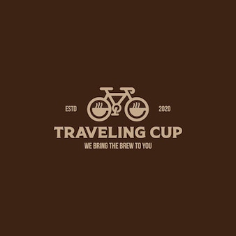 Travelig cup coffee vintage style logo template