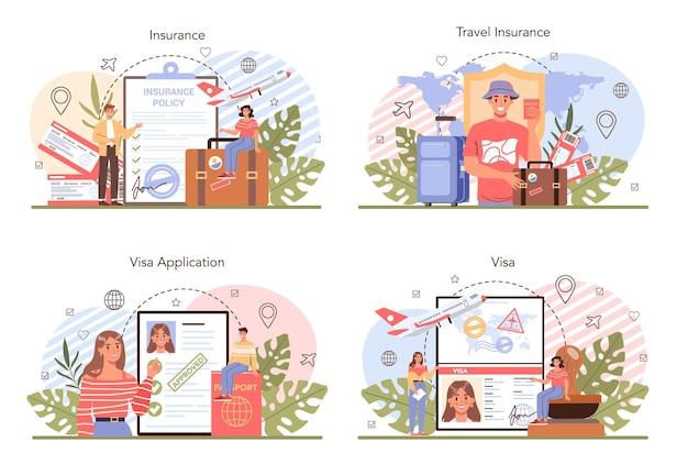 Утверждение заявки на визу и страхование набора концепции путешествия за границу