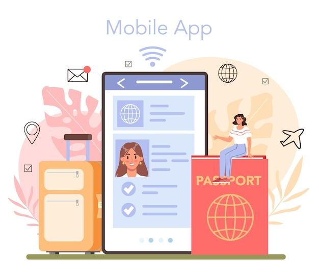 海外旅行のオンラインサービスまたはプラットフォーム。モバイルアプリ。フラットベクトルイラスト
