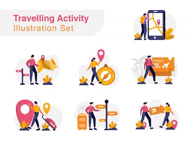 Traveling activity illustration set