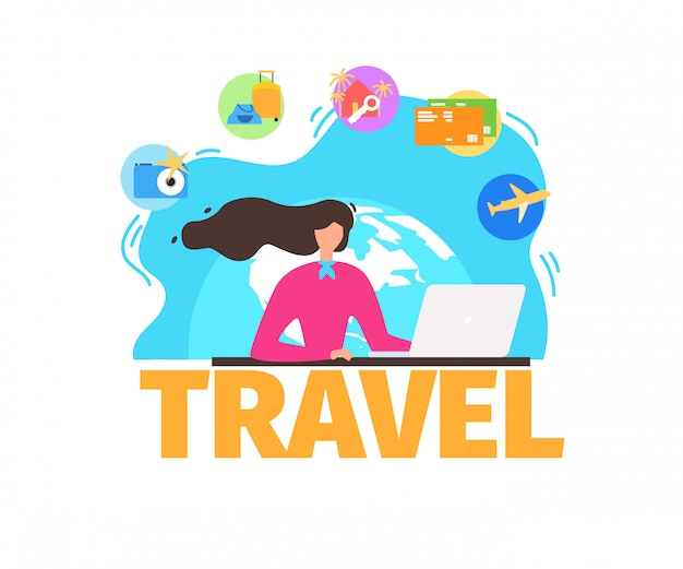 Traveling agency services flat vector banner