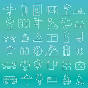 旅行とアイコンのベクトル図。