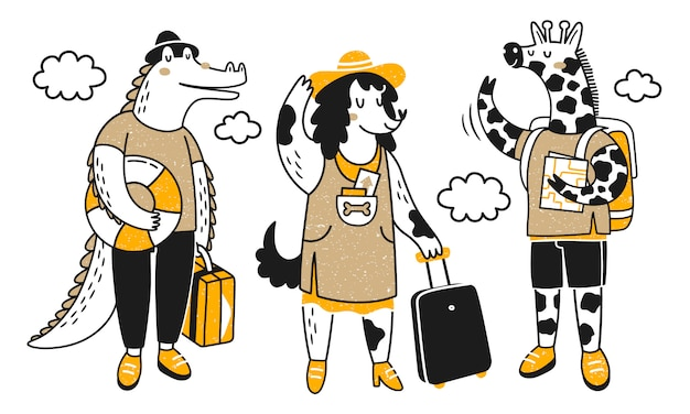 여행 동물. 여행에 귀여운 동물들과 함께 컬렉션. сrocodile, 개와 기린.