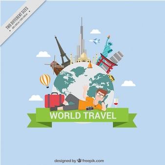 Traveling around the world background
