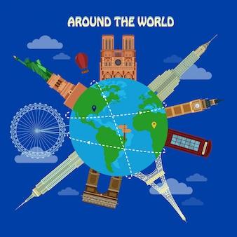 Traveling around the world banner