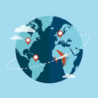 Traveling around the world by plane