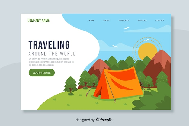 Traveling around the world landing page
