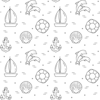 Traveling background. seamless pattern with sailboat, dolphins, shell, anchor and lifebuoy. flat line art. vector illustration. concept for trip, tourism, travel agency, hotels website wallpaper wrap