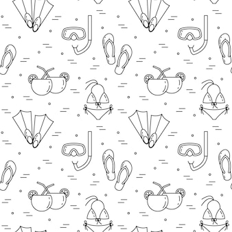 Traveling background. Seamless pattern with swimsuit, flippers, cocktail, diving mask. Flat line art. Vector illustration. Concept for trip, tourism, travel agency, hotels website wallpaper wrap