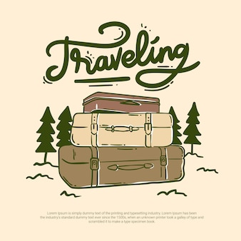 Traveling bag in forest outdoor offroad