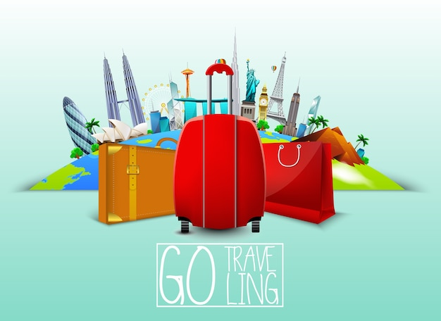 Traveling banner with suitcase