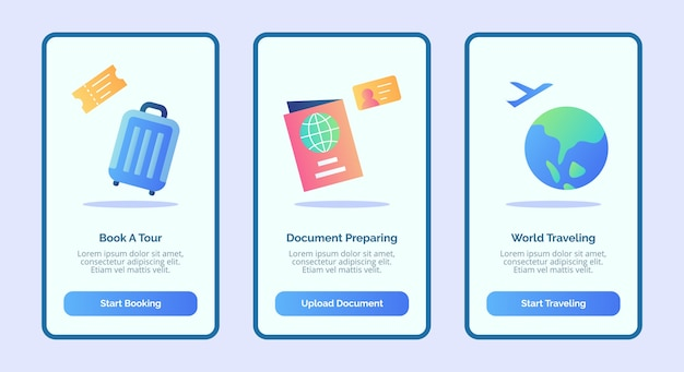 Traveling book a tour document preparing world traveling for mobile apps template banner page ui with three variations modern flat color style