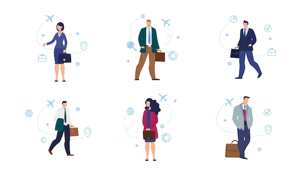 Traveling businesspeople vector characters set