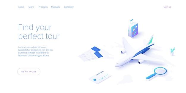 等尺性の空の概念による旅行。旅行、観光、予約アプリの旅行機器と荷物のランディングページ