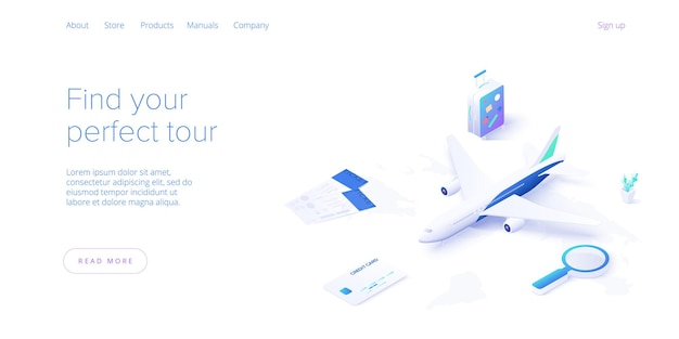 Traveling by air concept in isometric .travel, tourism and booking app travel equipment and luggage landing page