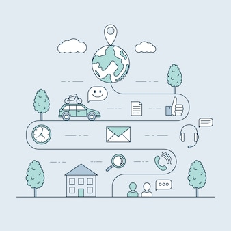 Путешествие на машине мультфильм наброски иллюстрации. дорожная карта и маршрут путешествия, дизайн графика извилистой дороги.
