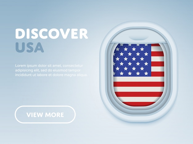 Traveling by plane. flat vector design banner template