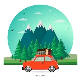 Иллюстрация путешествующего автомобиля