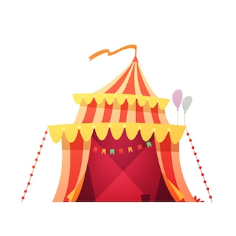 Traveling chapiteau circus red yellow tent in amusement park ready foe show retro cartoon icon illustration vector