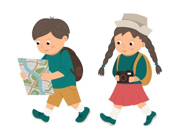 Путешествующие дети с рюкзаками иллюстрации
