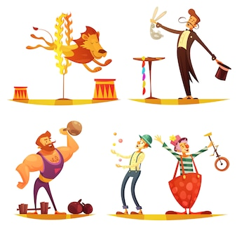Traveling circus retro cartoon 4 icons square composition with performing strongman clown