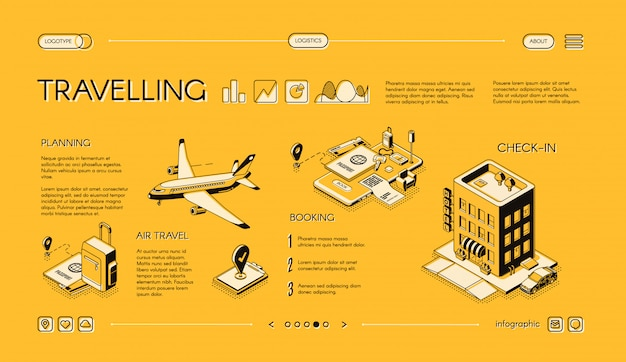 Traveling company isometric vector web banner