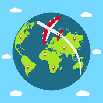 Концепция путешествия по всему миру баннер с земным шаром, летающим самолетом и булавками для карт