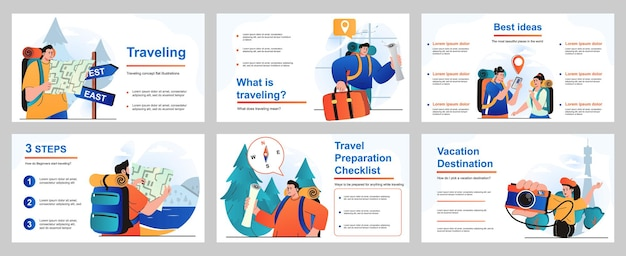 Traveling concept for presentation slide template people with backpacks or luggage