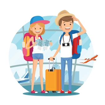 Traveling couple of young people