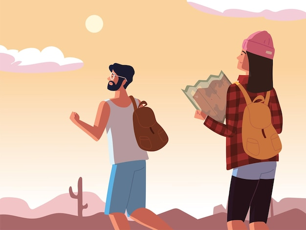 Путешествующая пара с картой и сумками