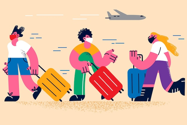 Traveling during coronavirus pandemic concept. group of people in protective medical masks walking with luggage in airport building waiting for departure vector illustration