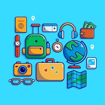 여행 장비 만화 아이콘 그림.