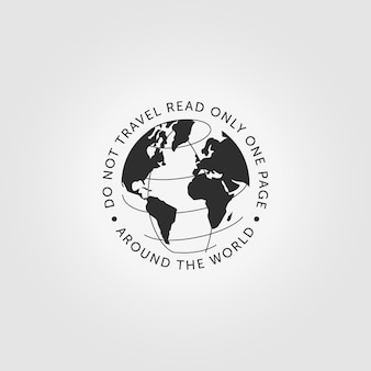 トラベリンググローブ世界ロゴアイコンヴィンテージベクトルデザインイラスト