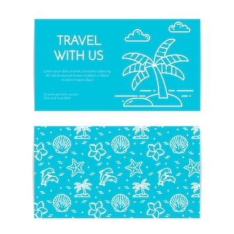 Traveling horizontal banner with palm on island