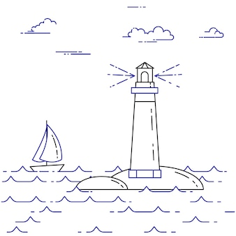 Traveling horizontal banner with sailboat on waves, lighthouse and clouds. flat line art elements. vector illustration. concept for trip, tourism, travel agency, hotels, yachting, recreation card.