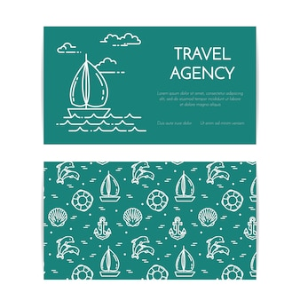 Traveling horizontal banner with sailboat on waves. seamless pattern with sea rest accessories. flat line art. vector illustration. concept for trip, tourism, travel agency, hotels business card.