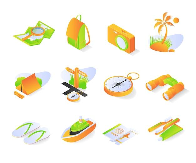 Иконка путешествия с набором или набором изометрического стиля премиум векторы современные