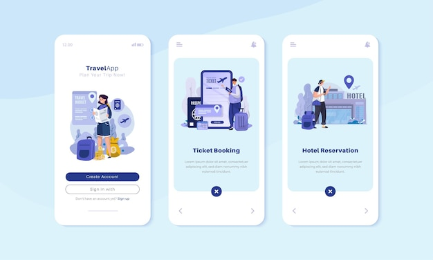 Traveling illustration on onboard screen interface concept