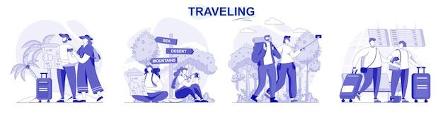 평면 디자인의 여행 고립 된 세트 사람들은 여행과 여름 하이킹을 함께 휴가를갑니다.