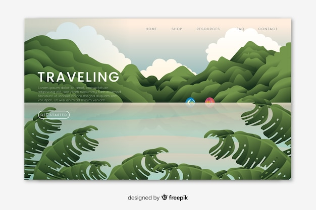 Traveling landing page with illustration