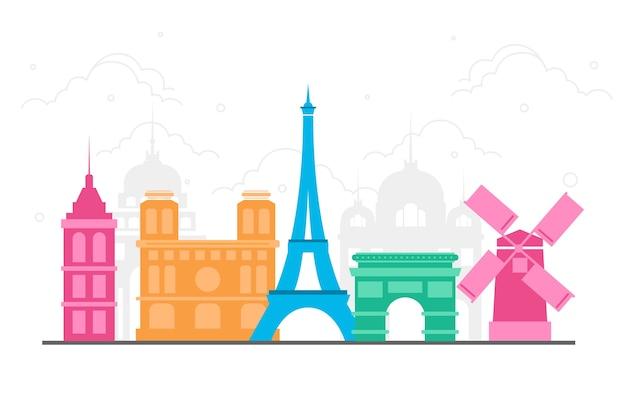 Traveling landmarks colorful skyline